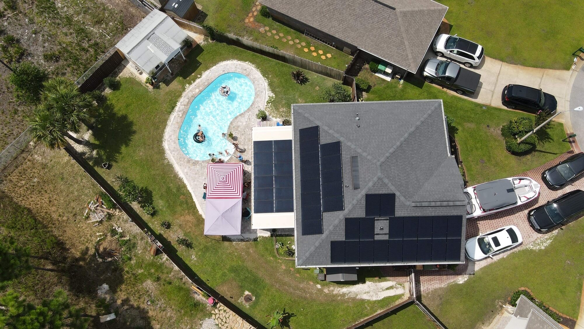 The Hughes Family solar array from above in this residential case study