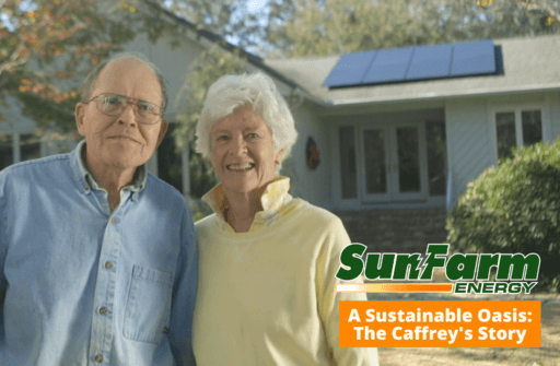 Helen and John Caffrey stand in front of their property in Gulf Breeze